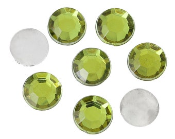 1000 Cabochons 6mm - Faceted - Olive Green - Flat Back  - Ships IMMEDIATELY from California - C293
