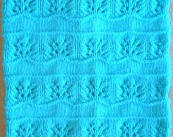 New Handmade TURQUOISE BLUE Knit Crochet Baby Afghan Blanket Throw Newborn Infant Soft Floral