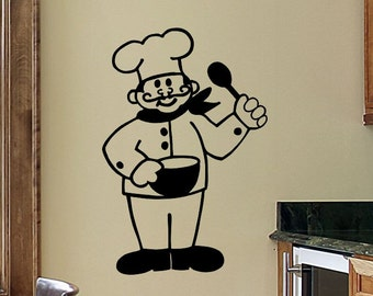 Kitchen Wall Decals Kitchen Wall Decor Chef French Chef Kitchen Wall Decal Wall Sticker Removable Kitchen Decoration Vinyl Sign Wall Decor