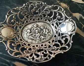 Silver Repousse Cherub Reciever Filigree Dish Free Shipping!