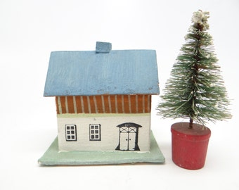 1940's German Christmas House for Putz or Feather Tree, Hand Painted Germany