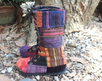 Deposit 50% To Reserve Your Size Boho Womens Combat Boots In Colorful Vintage Ethnic Hmong Patchwork Embroidery Vegan - Britta