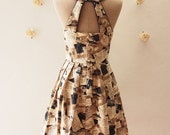 SALE Love Potion :  Retro Party Dress Love Journey Dress Navy and Brown Chic Voyage Journey Dress Open Back Dress Back Bow Dress  - Size S