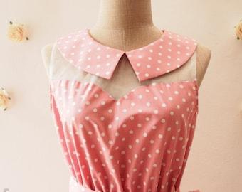 Pink Party Dress Pink Bridesmaid Dress Tea Dress Peter Pan Collar Dress llusion Dress Mod Dress Pink sundress -XS-XL,custom
