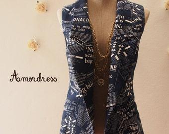 Newspaper Blazer Navy Women Vest in Dark Blue Drak Navy Blazer Chic Collar Vest  : Play Blazer or semi formal style - Size S-M