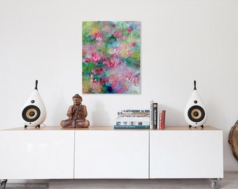 "Abstract Floral Painting on Large Canvas, Pink Flowers, Colorful Spring ""Waterfall of Cherry Blossoms"""