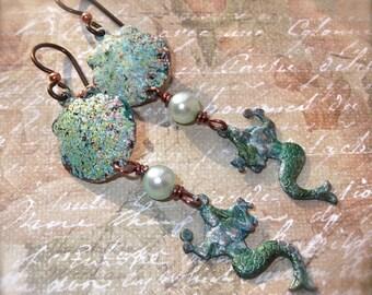 Shell Iced Enamel & Cultured Pearl Earrings With Mermaid