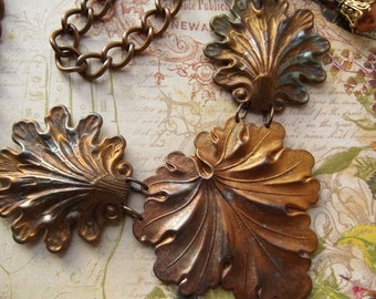 Torch Painted Brass Shells & Leaf With Vintage Curb Link Chain, Swarovski Faux Pearl