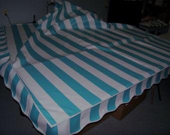 Vintage Camper Awning Aqua/white cabana stripe  9'x7'