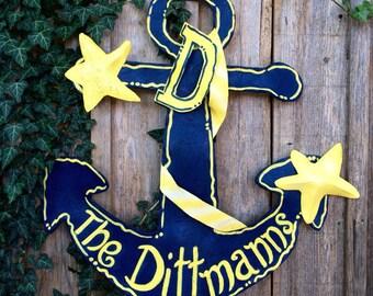 Personalized Screen Navy Blue Anchor with Seashells Door Hanger, Summer Door Hanger, Lake House Door Hanger, Beach House Door Hanger
