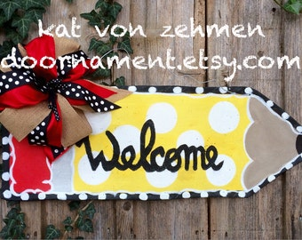 Screen Wire Back to School Teacher Polka Dot Pencil  Door Hanger Wreath Personalize for FREE