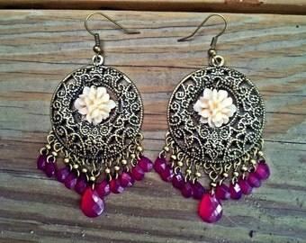 S.H.E.E.N. - Beautiful Bronze & Pink Chandelier Earrings
