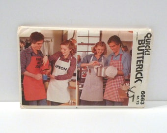 Apron Mitt and Potholder Butterick 6663 Pattern Vintage Never Used Unisex His and Hers Butcher Apron Full Apron 1970s 1980s FF uncut BBQ