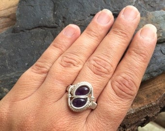 Wire Wrapped Ring, Amethyst Ring, Size 7.5 Amethyst Ring, Wire Wrap Jewelry, Heady Wire Wrap, Crystal Wrap
