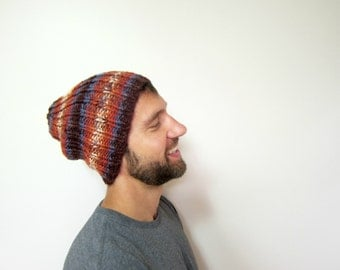 Warm Mens Hat Autumn Guys Hats Slouchy Beanie Men Knit Beanies Winter Accessories Orange Knitted Etsy Gifts Handmade Striped Cap Bulky Knits