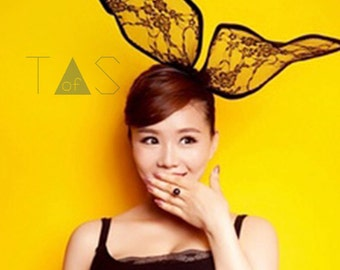Lace Bunny Ears / Halloween Costume Ears / Rabbit Ears