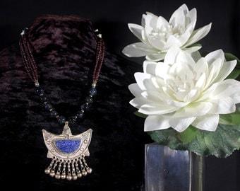 Moroccan Necklace, Lapis Pendant Necklace, Moroccan Jewelry, Ancient Jewelry, African Jewelry, Ethnic Jewelry, Tribal Necklace, Garnet