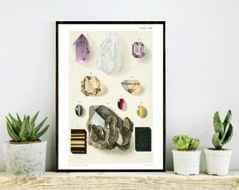 8 x 10 Vintage Gems & Minerals German Geology Educational Plate, Chart, Diagram