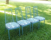 Mid Century Turquoise Ikat Metal Dining Chairs Set of 4