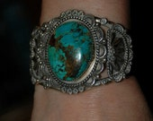 RESERVED FOR A Beautiful Old Ornate Hand Wrought Navajo Tyrone Turquoise Sterling Bracelet - Hallmarked