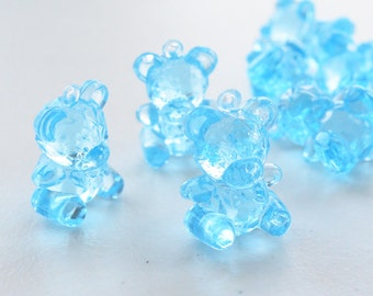 12 Small Blue Plastic Teddy Bear for decorate your favors
