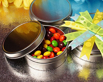 Round  Tins - 3 1/16 x 1 1/8 - 4 Ounces -150 Tins, Spices, Wedding Favors and Retail Packaging, Party Favors, Candy Treats