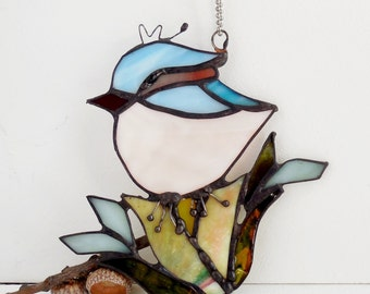 Stained Glass Little Bird The Happy Bird Home Decor Suncatcher