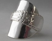 Beautifully Unusual Handmade Antique Engraved Floral Sterling Silver Spoon Ring dated 1907 Jewelry Unique Gift