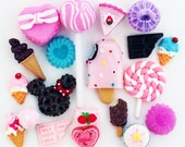 20 PCS Mixed Sweets Deco Kawaii Dessert Cabochon Mix Decoden Candy Cone Cabochon Lollipop Set Assorted Clay Sweets Cellphone DIY Kit - F67