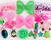 20 PCS Pink/Green Cabochons w/ Rhinestones and Pearls Set - DIY Kawaii Big Bow Rose Heart Owl Star Embellishment Cute Girlish Deco Kit - F77