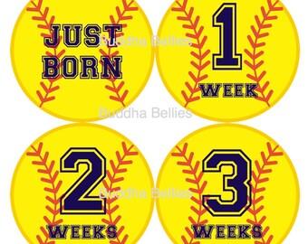 Softball Bundle Pack - Save on Shipping - Softball Baby Month Stickers - Milestone Stickers - Newborn Stickers - Monthly Baby Stickers