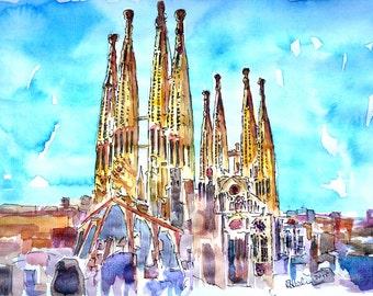 Sagrada Famila in Barcelona with Blue Sky- Limited Edition Fine Art Print