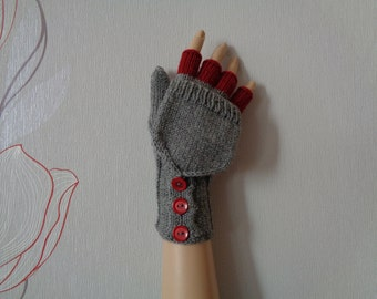 Hand-knitted grey color women convertible fingerless gloves/wrist warmers/flip mittens, handmade grey mittens,gift mittens