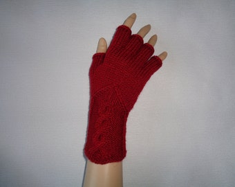 Hand-knitted dark red color women fingerless gloves/wrist warmers