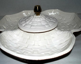 Vintage serving set  chip and dip condiment set basket weave  ceramic serving tray