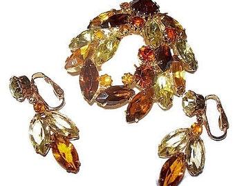 Juliana Brooch Earring Set Yellow & Amber Rhinestones Swag Floral Design Gold Metal Vintage