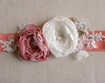 Bridal Flower Sash Wedding Dress Sash Bridal Flower Belt Rustic Burlap Flower Bridal Sash Ivory Rose Antique Pink Flower Lace Rhinestones