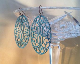 Large Filigree Earrings, Lace Metal Earrings, Rustic Drop Earrings, Boho Earrings, Shabby Chic Jewelry, Light Weight Earrings