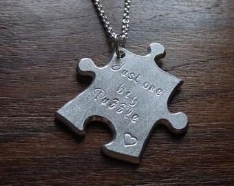 Large Argentium Silver Puzzle Pendant Necklace, in Satin Finish