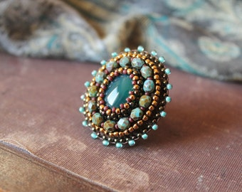 Statement Ring Green Agate Adjustable Ring Coctail Ring Cabochon Ring Beadwork Ring Bead Embroidery Tribal Ethnic Jewelry MADE TO ORDER