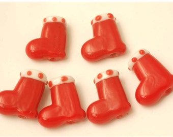 12 Handmade Lampwork Glass Beads --- Christmas Red Stocking