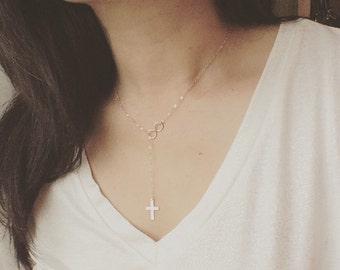 Cross and Infinity Lariat Necklace - Cross and Infinity Necklace -Faith Forever - Everyday Jewelry - Mothers Gift, Best Friend, Holiday Gift