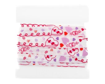 Valentine Printed FOLD OVER elastic 5/8th inch - 5 yards - Valentine's Day Candy Hearts FOE