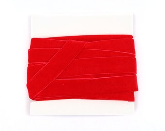 Valentine Stretch VELVET Elastic 5/8th inch width - 5 yds - Red
