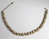Trifari 1960s Brushed Gold Tone Choker Necklace Faux Pearls and Rhinestone Bridal Gift