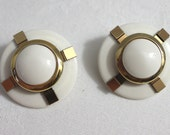 Vintage 1960s Earrings Mad Men White Gold Toned Clip On Costume Jewelry Gift