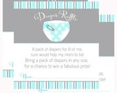 Aqua Diaper Raffle Tickets Instant Download Printable Game Cards Boys Baby Shower Invitation Insert Diaper Tickets