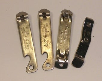 4 Vintage Unbranded Church Key Bottle Openers Lot - Vaughn, EKCO, Arcuate Profile, Quick and Easy, Safe Edge  - man cave, home bar