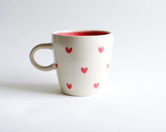 Valentines Day Gift for Wife Heart Coffee Mug Handmade Ceramics Mint Red Coral for Mom Unique Coffee Mug Gift for Her Hostess Sister Foodies