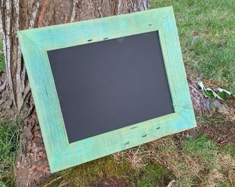 Rustic Natural Barn wood CHALKBOARD -  8 x 10, 8.5 x 11 or 11 x 14 Shabby Chic Picture Frames in Green
